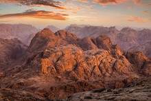 View From Mount Sinai At Sunrise. Beautiful Mountain Landscape In Egypt.