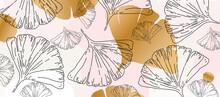 Ginkgo Leaves Pastel Gold Pattern. Ginkgo Biloba Poster Background, Nature Inspired, Soft Colors, Elegant Art Print. Botanical Decorative Design, Vector Illustration For Spa, Wellness, Fabric, Fashion