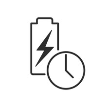 Long Battery Life Icon. Stroke Outline Style