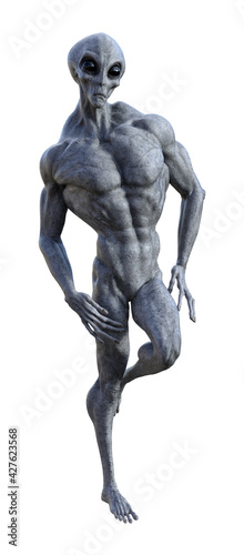 Canvas-taulu Illustration of a muscled gray alien standing with one leg up in a relaxed muscl