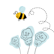 Cute Bee With Circles Over The Flower. Vector Illustration Of Cartoon Style.