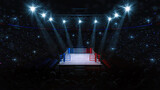 Boxing fight ring. Audience view of sport arena with fans and shining spotlights. Digital sport 3D illustration.