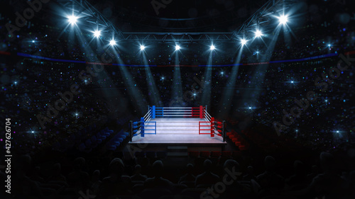 Fototapeta Boxing fight ring. Audience view of sport arena with fans and shining spotlights. Digital sport 3D illustration.  obraz