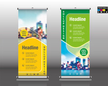 Roll Up Brochure Flyer Banner Design Vertical Template Vector, Abstract Geometric Background, Modern Banner, Rectangle Size.