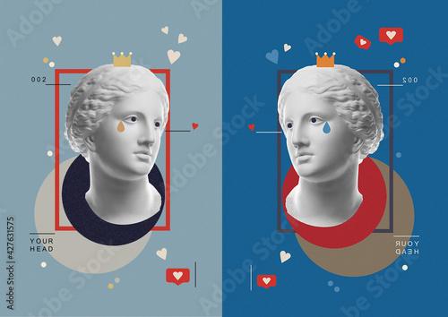 Obraz na plátně Fashion art collage with plaster antique sculpture of Venus face in a pop art style