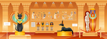 Ancient Egyptian Museum. Egypt Pharaoh Vector Illustration With Historical Pyramid Interior. Mummy, Old Tomb With Cat, Dog Statue, Artwork Gallery Hall With Cairo Civilization Objects. Cartoon Museum