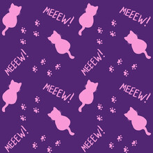 Cute Seamless Pattern With Cats, Steps And Mew Quote. Pink And Purple Colors. Doodle Cartoon Style. Modern Abstract Design For Packaging, Paper, Cover, Fabric, Cards, Textile. Vector Illustration