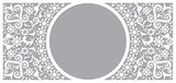 Fototapeta Kuchnia - Moroccan vector openwork frame and border greeting card design in recatangle DL format, inspired by the old carved wood wall art patterns from Morocco