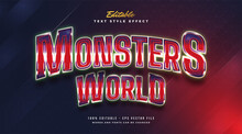 Editable Text Effect With Red Monster E-sport Style
