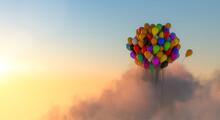 Viele Bunte Luftballons Fliegen Bei Sonnenaufgang Durch Wolken