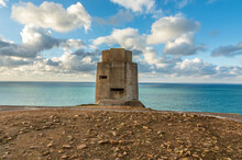WWII Concrete Nazi Naval Tower On The Seashore, Saint Quen, Bailiwick Of Jersey, Channel Islands
