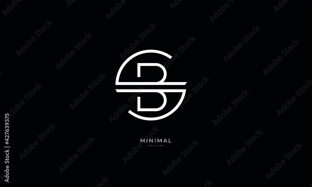 Fototapeta Alphabet letter icon logo SB or BS
