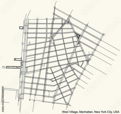 Obraz na plátně Black simple detailed street roads map on vintage beige background of the quarte
