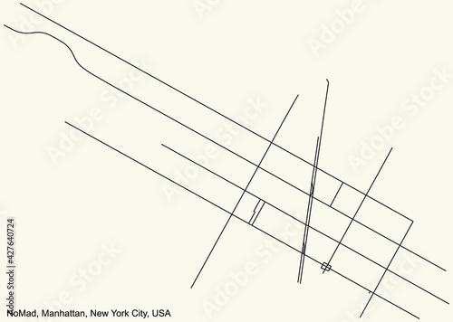 Papel de parede Black simple detailed street roads map on vintage beige background of the quarte