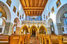 Interior Of St Hippolyt Church, Zell Am See, Austria