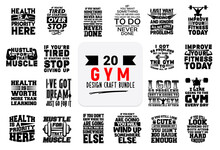 Craft Design Bundle With Gym Lettering Quotes.