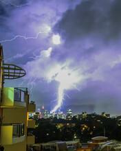 Lightning Strike Over The Sydney CBD City