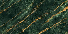 Green Marble With Golden Veins. Green Golden Natural Texture Of Marble. Abstract Green, White, Gold And Yellow Marbel. Hi Gloss Texture Of Marble Stone For Digital Wall Tiles Design.