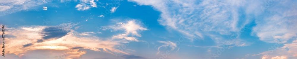 Fototapeta Dramatic panorama sky with cloud on sunrise and sunset time. Panoramic image.