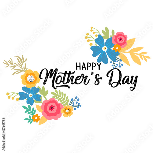 Happy Mother's day. Cute card with flowers. Vector illustration. Wall mural