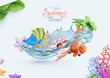 Summer, sea background. 3d vector realistic illustration. Coral reef, tropical fish, starfish, seashell objects
