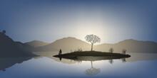 Concept Du Calme Et De La Tranquillité Avec Un Homme Qui Pèche à La Ligne, Sur Une Petite île Au Milieu D'un étang, Entouré De Montagne.