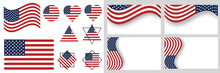 USA Flag Vector Illustration.  American Flag National Sign Isolated.  Flag Of The United States. USA  Vector Illustration. Eps 10 Vector. Set Of American Flag. Icon. US, USA, America.
