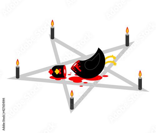 Obraz na plátně Sacrificial chicken and pentagram