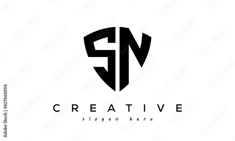 Fototapeta SN letter creative  logo with shield