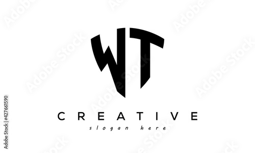 Stampa su Tela WT letter creative  logo with shield