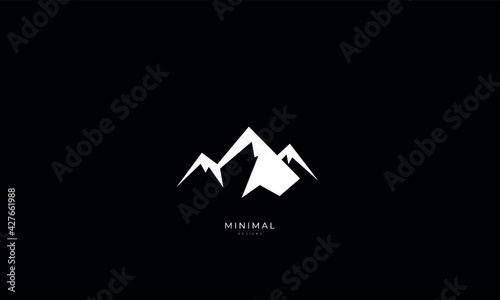 A line art icon logo of a minimal mountain, peak, summit	  - fototapety na wymiar
