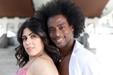 Close Up Portrait Of Black Man And Caucasian Woman. Concept Of Multiethnic Couple.