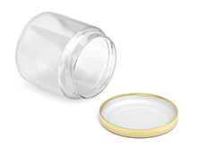 Open Glass Jar And Golden Cap On White Background