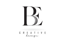 BE B E Letter Design Logo Logotype Concept With Serif Font And Elegant Style Vector Illustration.