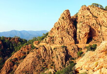 Rocks On The Calanches Place In Corsica In France Near Piana Town At Sunset