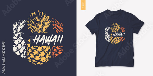 Obraz Summer graphic tee design with pineapple, stylish print, vector illustration - fototapety do salonu
