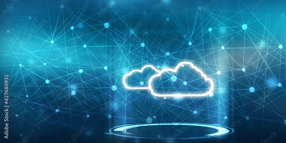 Fototapeta 2d rendering technology Cloud computing
