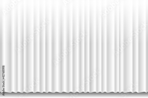 Closed white textile curtain with many shadow wavy background Fototapet