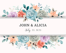 Save The Date. Watercolor Rose Flower Frame Border