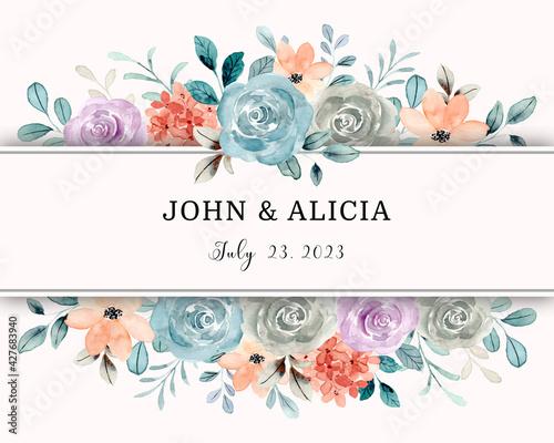 Fototapeta Save the date. Watercolor rose flower frame border obraz
