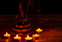Ceramic Backflow Incense Burner In The Form Of Lotus Flower With Little Candles. Incense Cones Holder. Dark Mystic Concept.