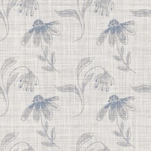 Seamless French Farmhouse Floral Linen Printed Background. Provence Blue Gray Pattern Texture. Shabby Chic Style Woven Background. Textile Rustic Scandi All Over Print Effect. Watercolor Paint Motif