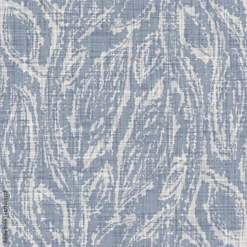 Fototapeta Seamless french farmhouse geo abstract linen printed fabric background. Provence blue gray pattern texture. Shabby chic style woven background. Textile rustic scandi all over print effect. Watercolor. obraz