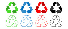 Recycling.Set Recycle Colorful And Line Icons Sign.Colorful Icons For Packaging , Recycling.ecology, Eco Friendly, Environmental Management Symbols.Most Used Recycle Signs Vector.Red,blue,green,black