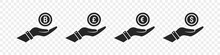 Currency Icons. World Money Symbols. Finansial Vector Icons. Coin On Hands. Vector Illustration