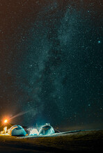 Night On Askhi Mountain. Clearly Sky With Milky Way