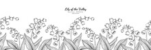 Seamless Pattern Lily Of The Valley Flower And Leaf Hand Drawn Botanical Illustration With Line Art.