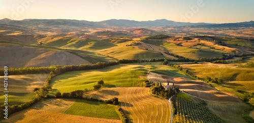 Fototapeta premium Aerial view of Val d'Orcia, Siena, Tuscany, Italy