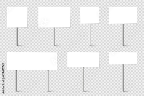 Photo Blank board with place for text, protest signs set isolated on transparent background