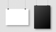 Realistic Blank Hanging Paper Sheets In A4 Size With Shadow On Checkered Background. Black And White Notebook Page. Design Poster, Template Or Mockup. Vector Illustration.